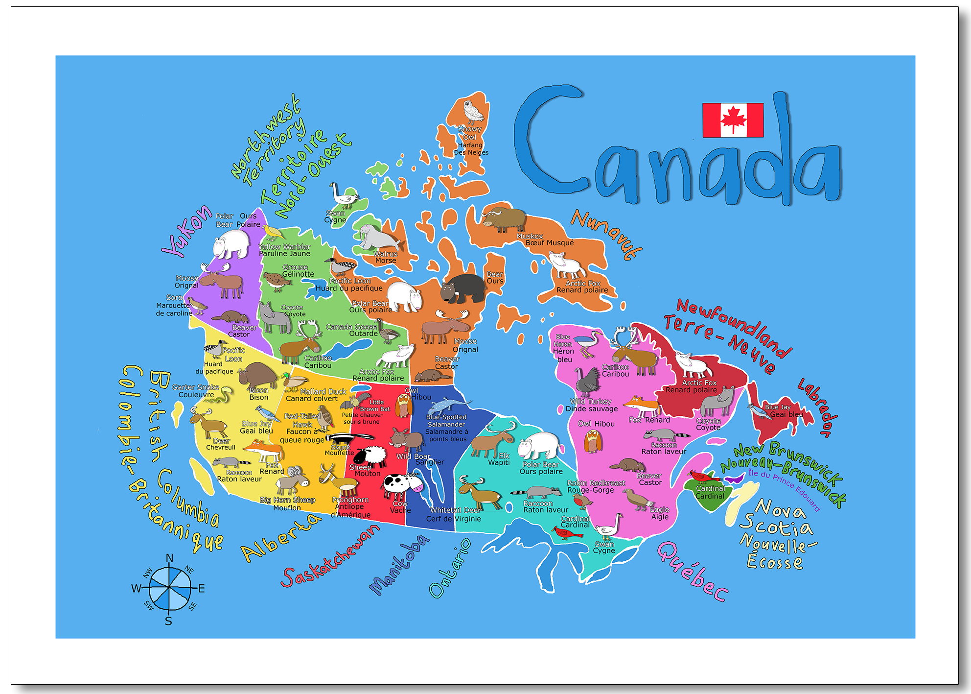 Map Of Canada Kids.Kids Illustrated Map Of Canada